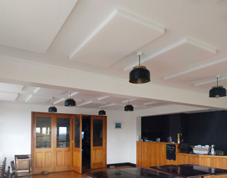 Acoustic panels on Hotel Restaurant Ceiling