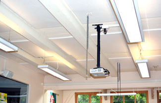 Acoustic panels on School Classroom ceiling